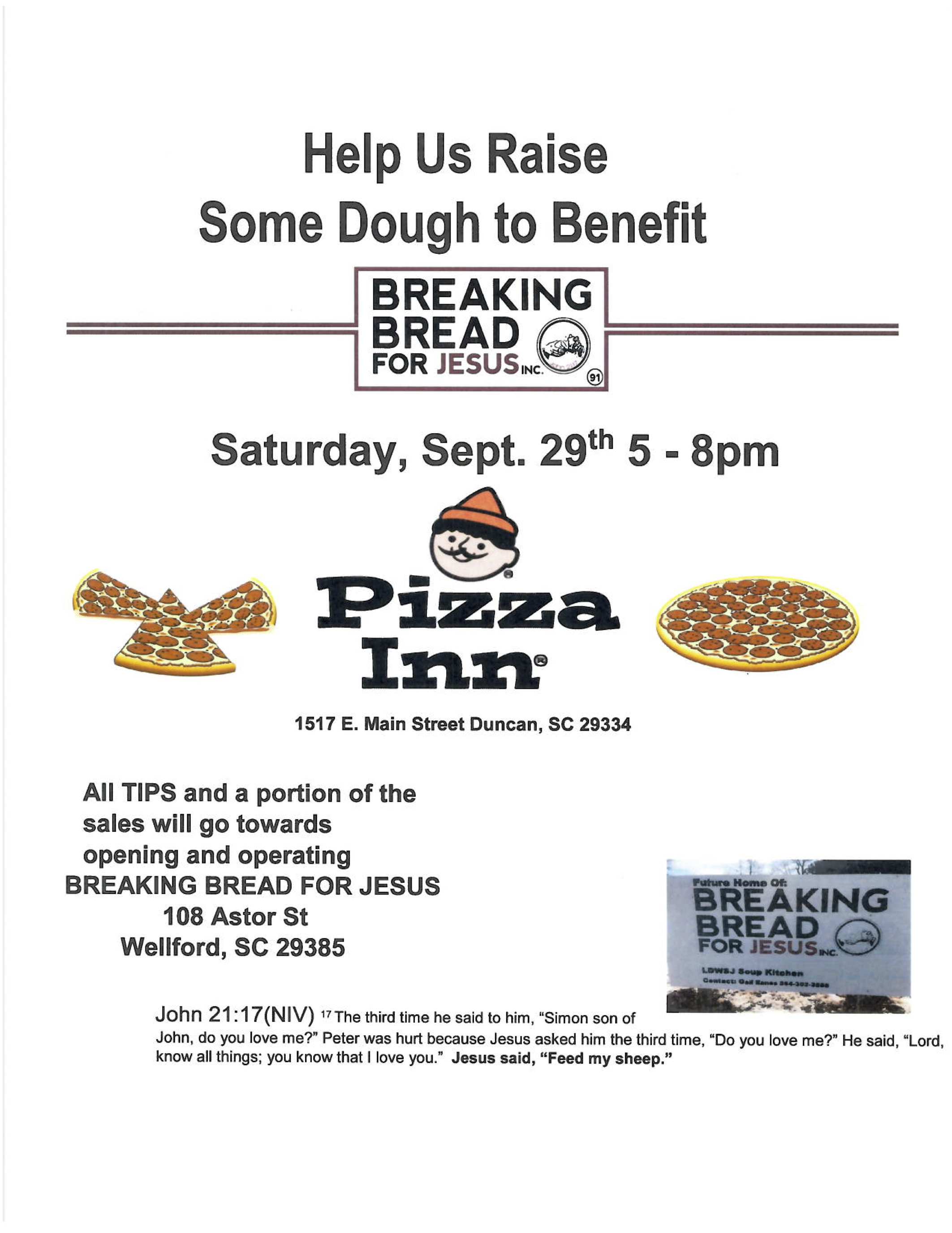 Help Us Raise Dough With Pizza Inn