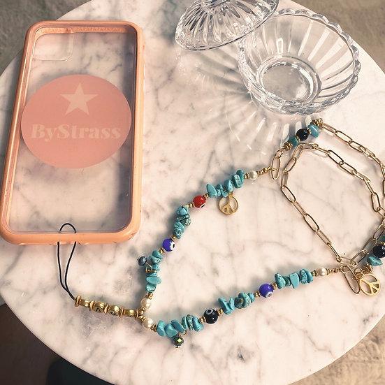 Grigris de Téléphone Eva turquoise long