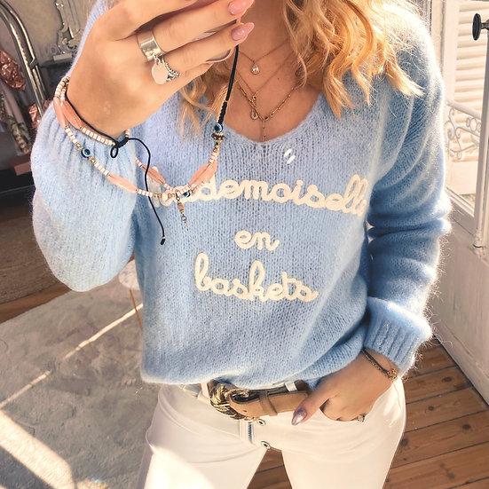 Pull Mademoiselle en Baskets Bleu