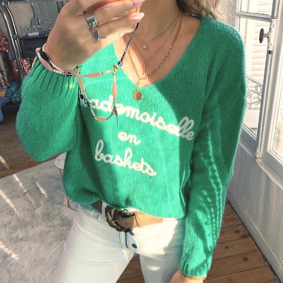 Pull Mademoiselle en Baskets Vert