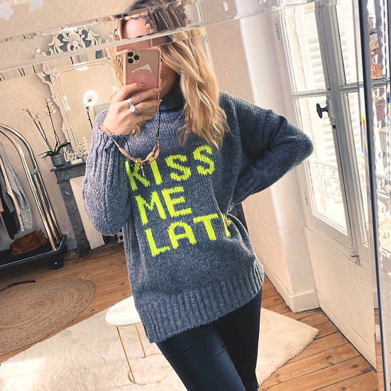 Pull Kiss Me Later Gris Anthracite
