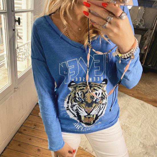 Tee Shirt Tiger Bleu