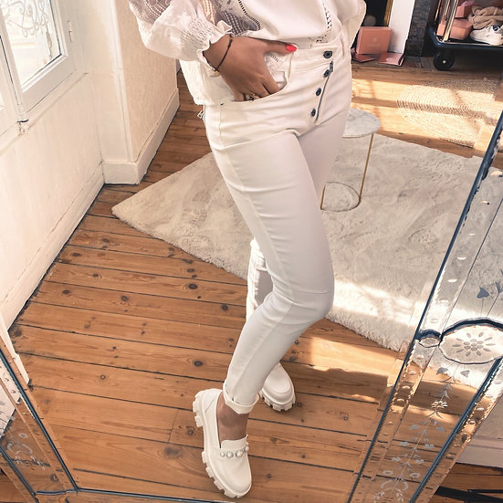 Pantalon Slim Simili Cuir Blanc