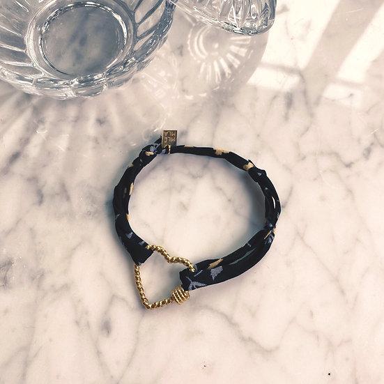 Bracelet Mila Fabrics Heart Noir