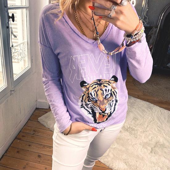 Tee Shirt Tiger Lila