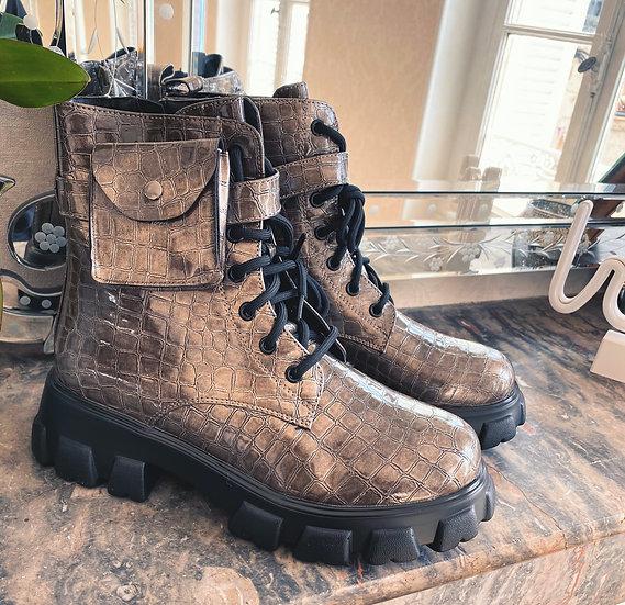 Boots Pochette Taupe Argenté