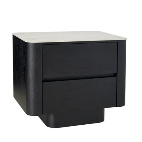 Clio Black bedside with ceramic marble top