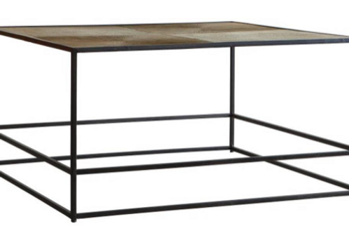 Hadston metal coffee table with antique gold metal top