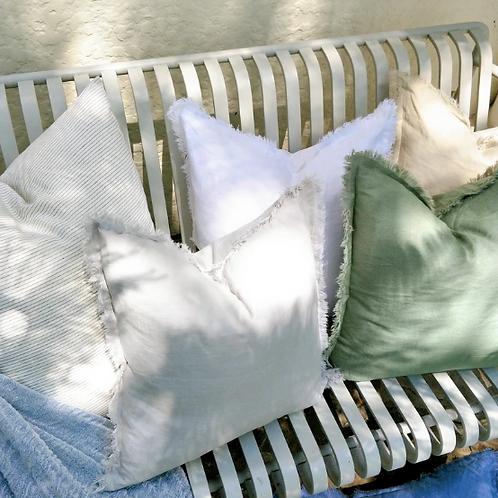 Essential Hazelhurst 100% Pure French Linen Fringed Edge Cushions 50 x 50 cm