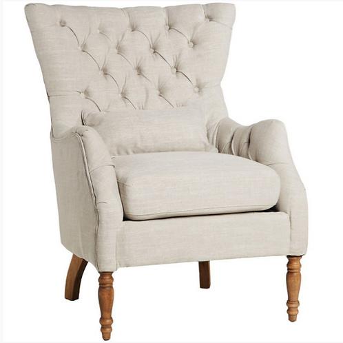 Lotus Button back Armchair Linen