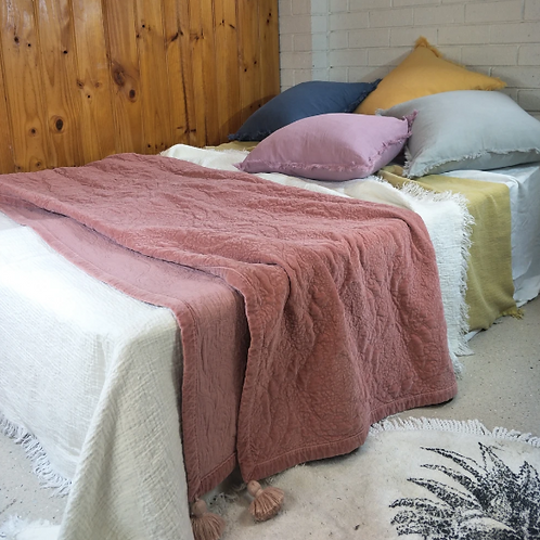 Belle Stonewashed Cotton Velvet Comforter Bed Cover  - Cherry Pink