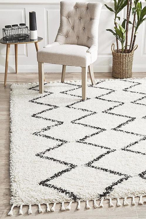 Saffron Plush Floor Rug White by Rug Culture