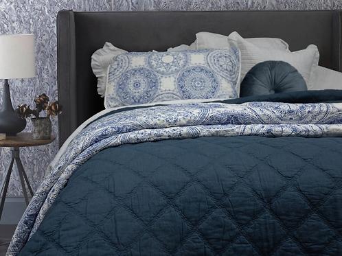 Arabella Petrol Blue 100% Cotton Coverlet Bedspread Set