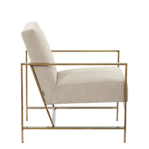 Blaise chair with brass finish frame upholstered in Fawn Cord fabric