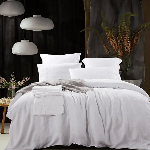 Heavy Weight Pure French Linen Sheet Set Fitted Flat Sheet Set - White