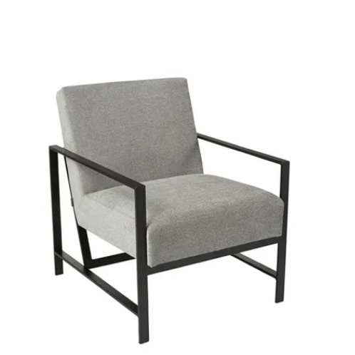 Blaise chair with black metal frame upholstered in silver pebble fabric