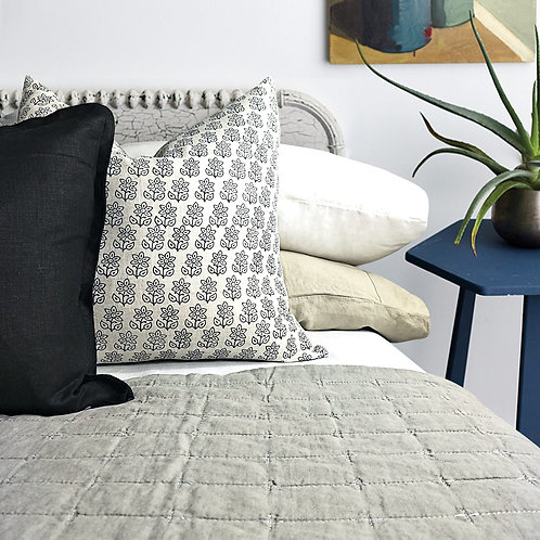 Helsinki 100% Pure French Linen Quilted Bed Cover - Grey