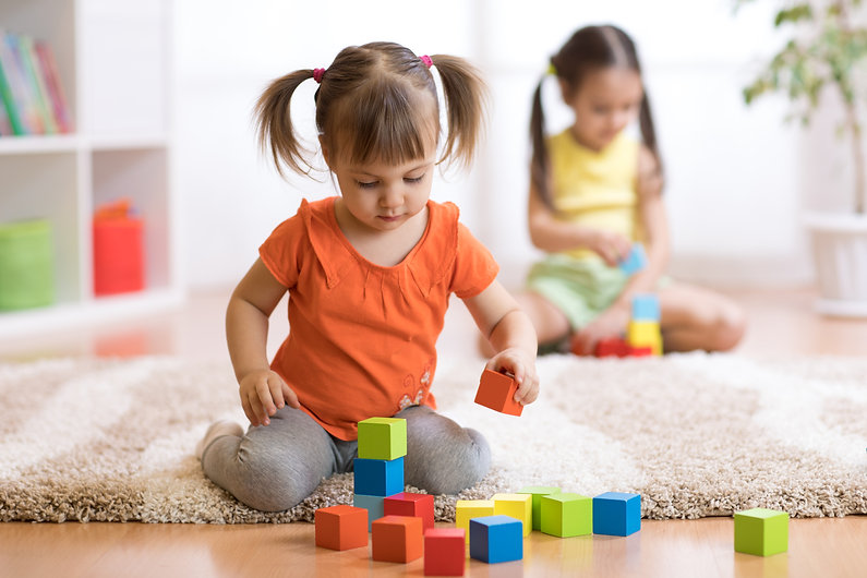 Children toddlers girls play toys at hom