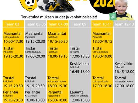 Kajaanin Hakan juniorijoukkueiden talvikauden harjoitusajat- ja paikat 2019-2020.
