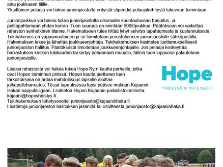 Hakan Juniorijaosto tukee vähävaraisten perheiden lapsien- ja nuorten jalkapalloharrastusta!