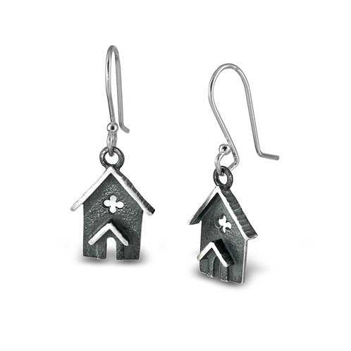 Architectural Jewellery: Oxidised Silver Chapel earrings