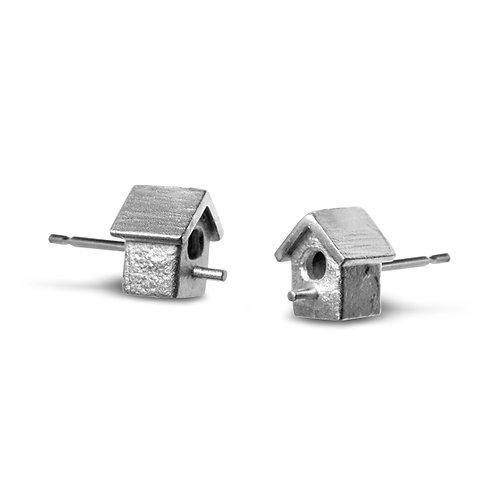 Silver Birdhouse Ear Studs
