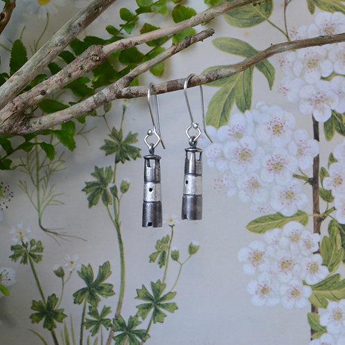 Oxidised Silver Miniature Lighthouse Earrings