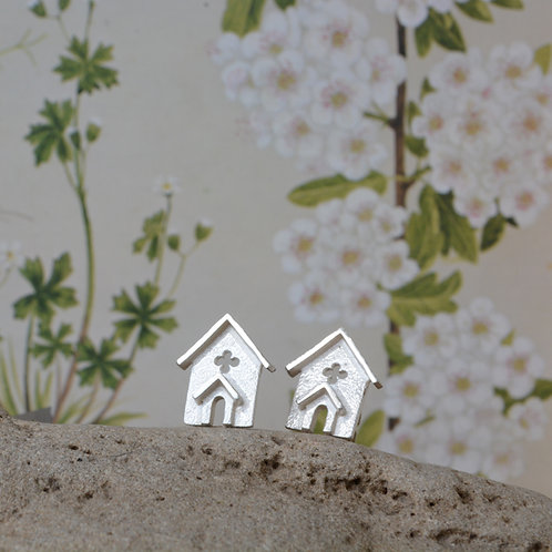 Miniature Silver Church Ear Studs