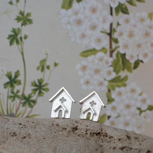 Miniature Silver Church Ear Studs