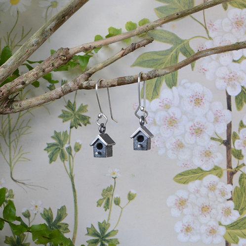 Oxidised Silver Birdhouse Earrings