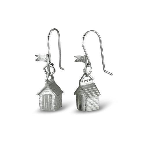 Silver Beach Hut Earrings