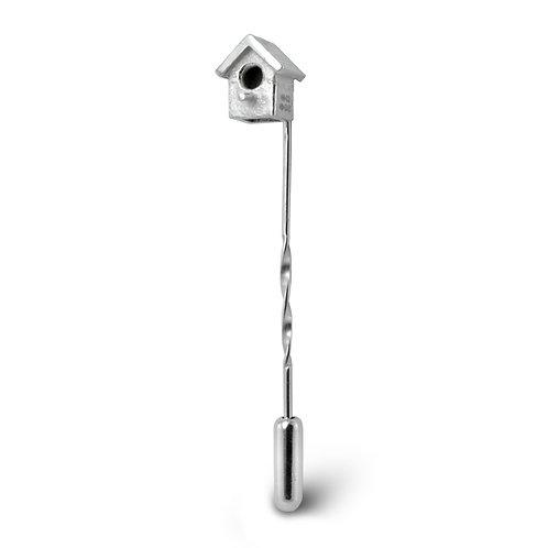 Silver Birdhouse Tie Pin