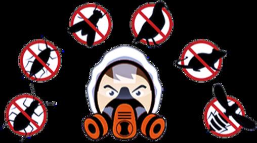 Homme équipé d'un masque pour la désinfection, dératisation et désinsectisation des nuisibles