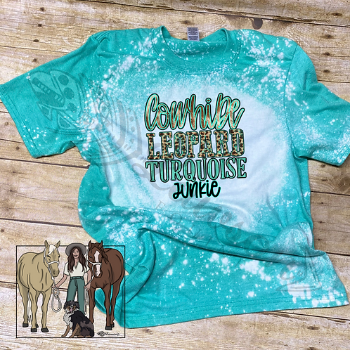 Cowhide Leopard Turquoise Pre Order