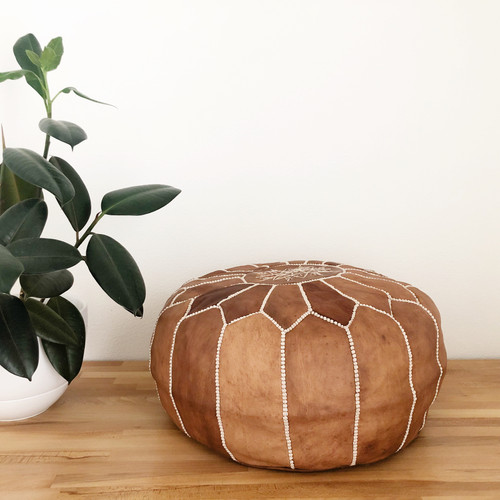 Shop Handmade Moroccan Leather Pouf | Texture and Ink from (Vendor not listed) on Openhaus