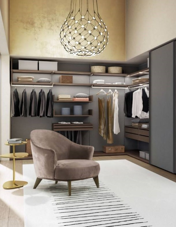 Euromobile Open Shelf Closet, Walnut and Matt grey (Piombo)