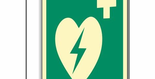 Fahnenschild Defibrillator nach ISO 7010