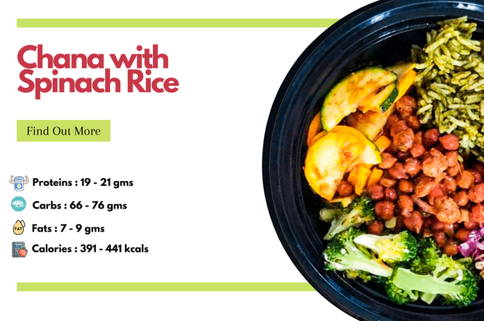 Chana with Spincach Rice Bowl