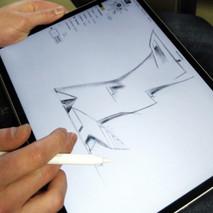Felix Enz skizziert erste Entwürfe