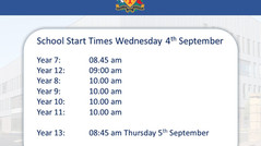 Back to School Wednesday 4th September