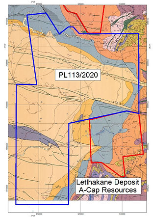 Eastport Ventures uranium licence in blue is next to A-Caps uranium mining licence in the Foley area of north-central Botswana.