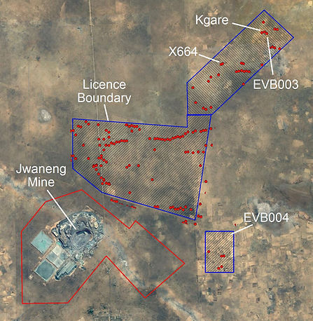 Eastport Ventures discovers airborne electro-magnetic targets throughout its diamond licences near the Jwaneng diamond mine in Botswana.