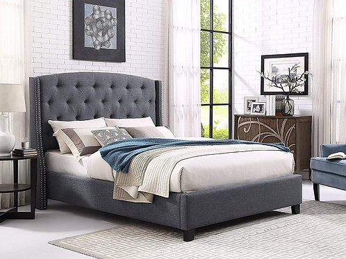 Fabric Tufted Wingback Upholstered Bed with Nailhead Trim