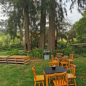 Wooden tables & chairs in the garden of The Lemon Tree Garden Venue