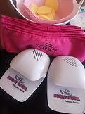 White Sugar Angel nail dryer with pink spa headband