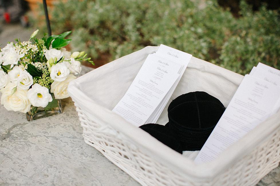 15. Jewish wedding basket with Kippahs and order of service cards.jpg