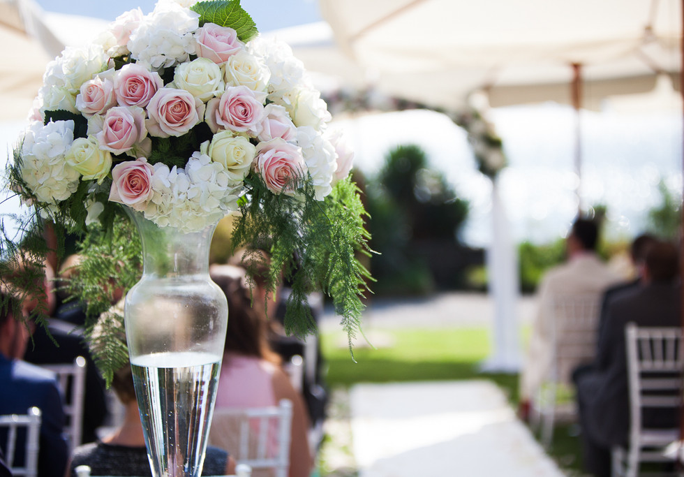 Flower arch and roses. Wedding on Lak