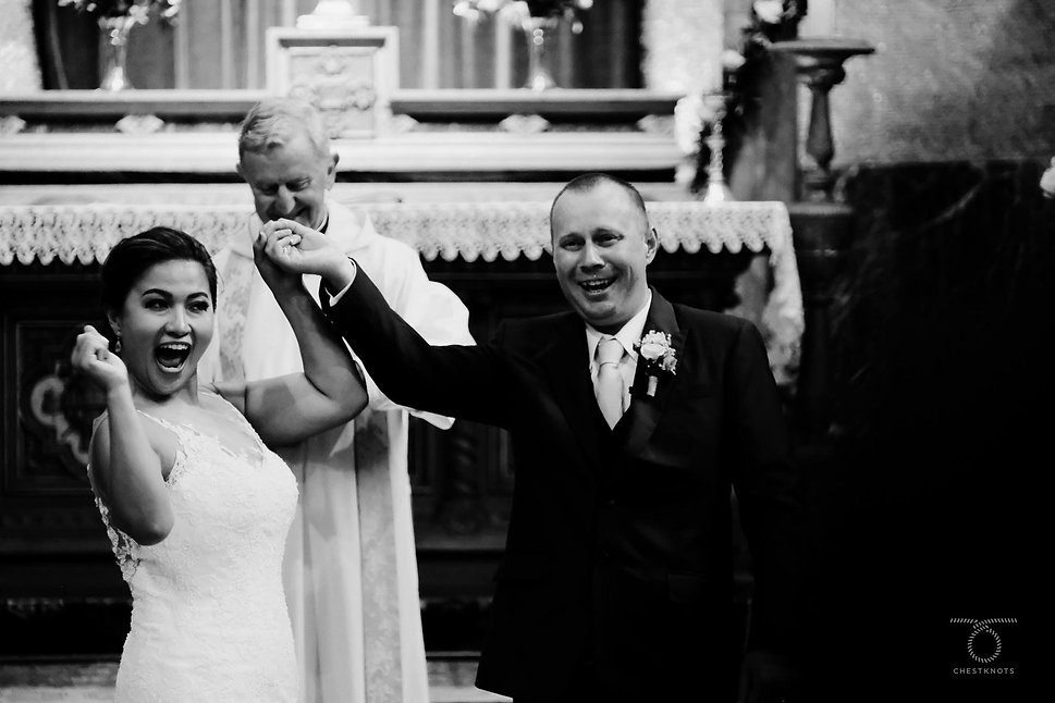Just married, Cadenabbia church wedding.