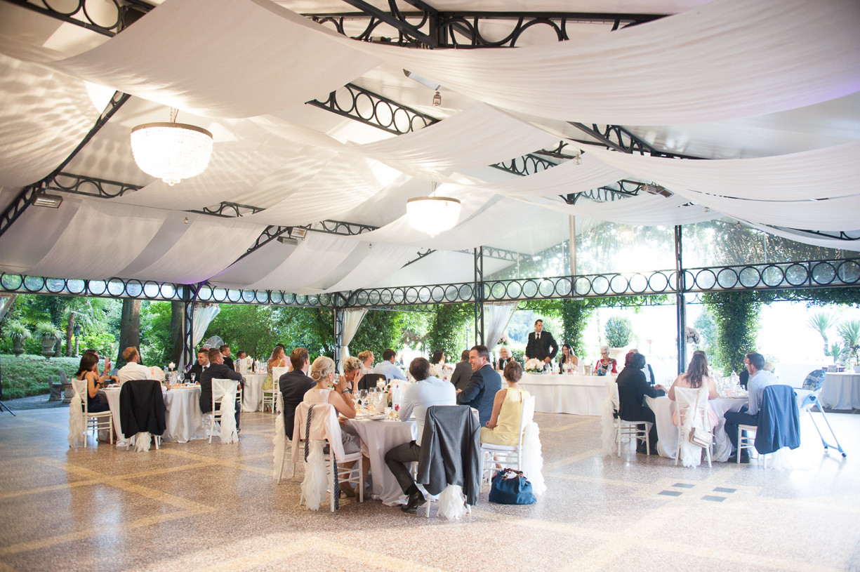 Wedding dinner under the marquee at