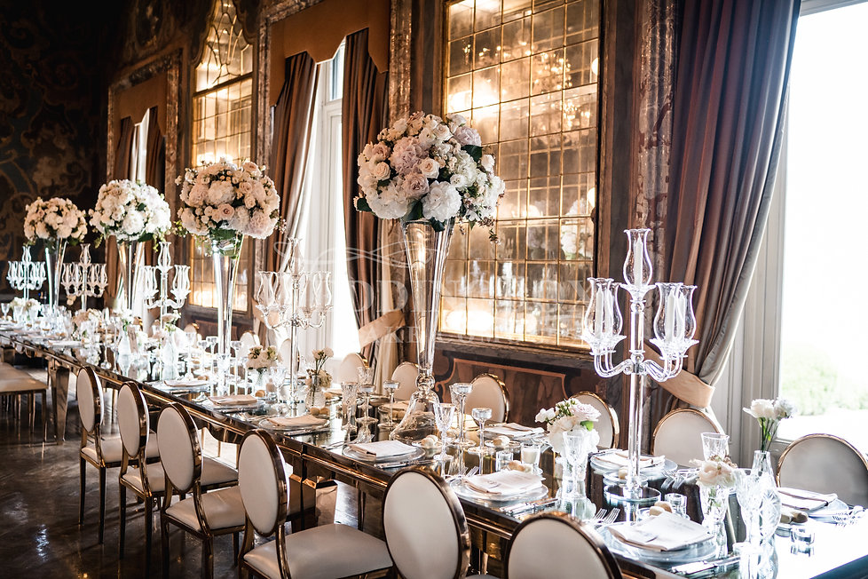 17. Mirror tables and crysal candelabras